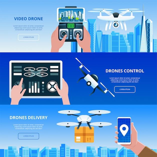 タブレット要素の図が付いている都市手の上を飛んでボックスとリモコンを持つ無人偵察機 Premiumベクター