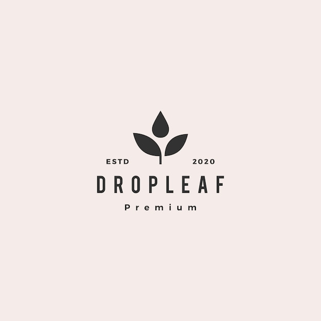 Drop leaf logo hipster retro vintage icon Premium Vector