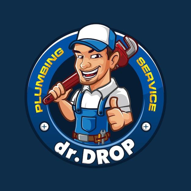 Логотип талисмана сантехники drop Premium векторы