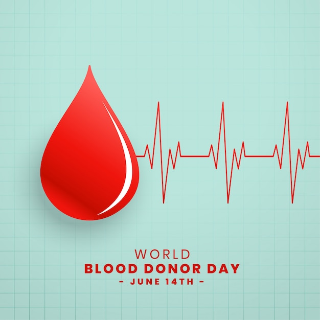 Drop of red blood donor day concept background Free Vector