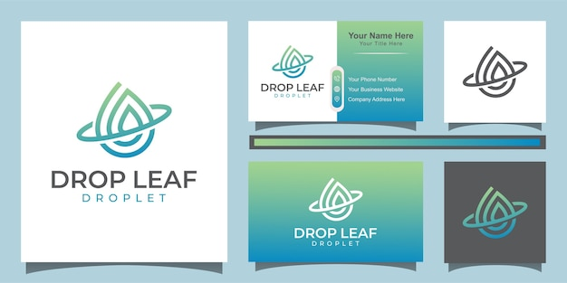 Drop and water vector logo. elegant leaf and oil logo design with line art style logo and business card Premium Vector