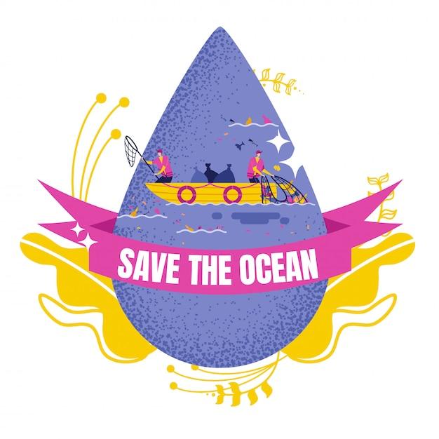 Drop of water with volunteers cleaning ocean Premium Vector