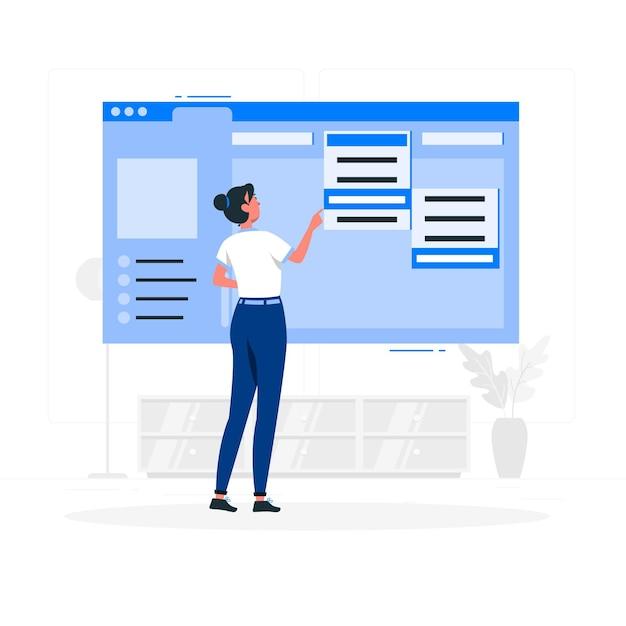 Illustrazione del concetto di menu a discesa Vettore gratuito