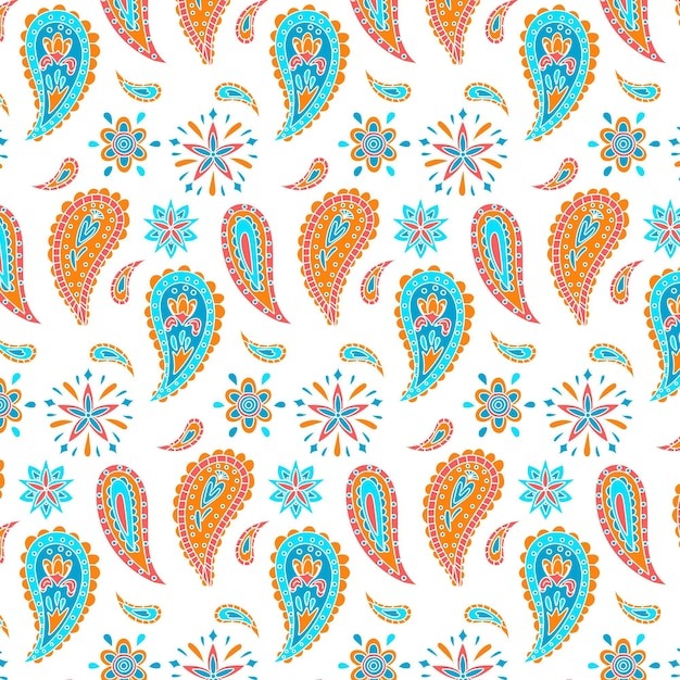 Drops and flowers paisley seamless pattern Free Vector