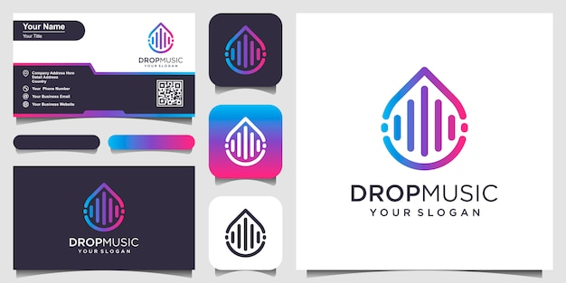 Drops or water combined with pulse or wave element. logo design and business card Premium Vector