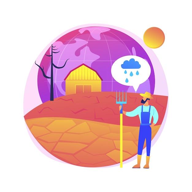 Иллюстрация абстрактной концепции засухи. экстремальные погодные условия, проблема эрозии, отсутствие осадков, глобальное потепление, борьба с засухой, стихийные бедствия, суровая летняя жара Бесплатные векторы