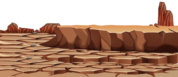 Drought cracked desert landscape Free Vector