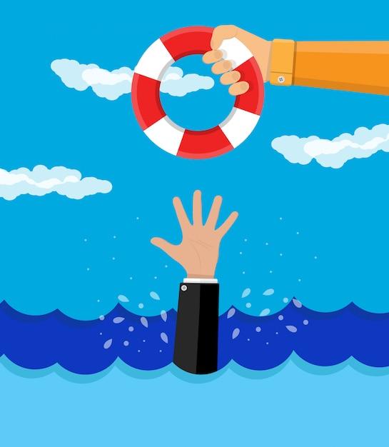 Drowning businessman gets a lifebuoy Premium Vector