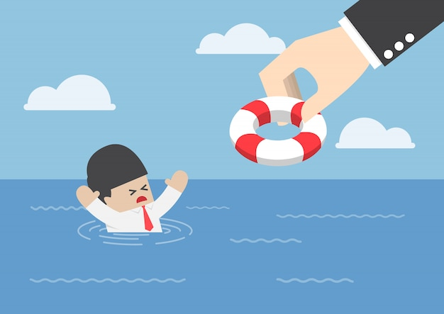 Drowning businessman getting lifebuoy from big hand Premium Vector