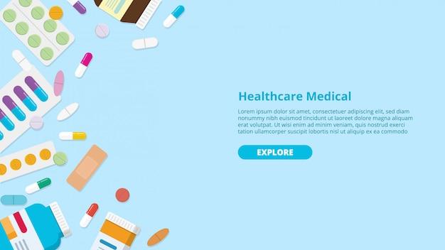 Drug or medicine pills template banner Premium Vector