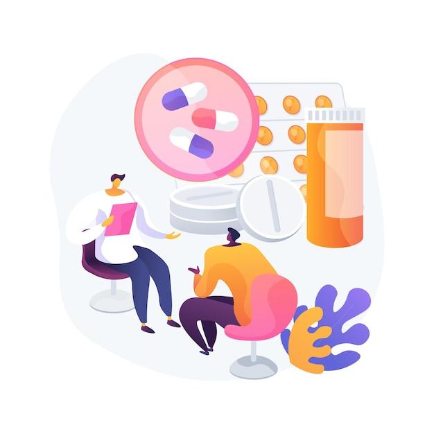 Illustrazione di vettore di concetto astratto di monitoraggio della droga. monitoraggio terapeutico dei farmaci, assistenza sanitaria primaria, braccialetto alla caviglia, chimica clinica, misurazione del livello di farmaco nella metafora astratta del sangue. Vettore gratuito