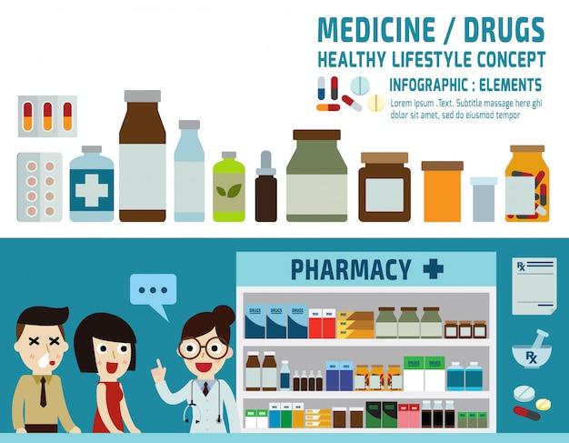Drugs icons pills capsules and prescription bottles. Premium Vector