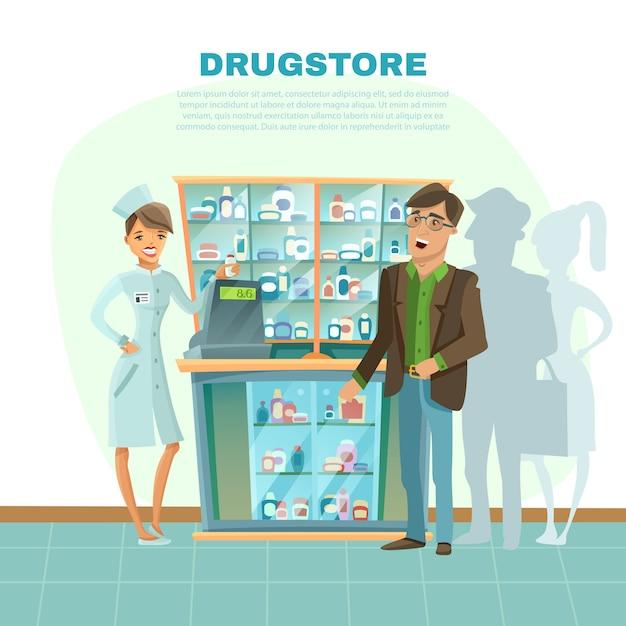 Drugstore cartoon illustration Free Vector