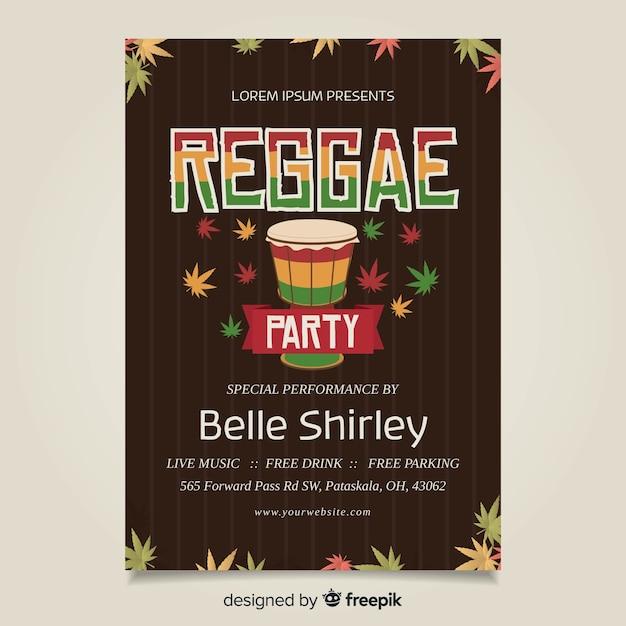 Drum reggae poster Free Vector