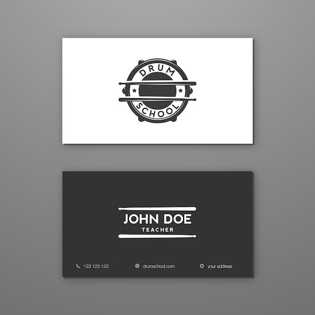 Барабанная школа или уроки игры на барабанах творческий шаблон визитной карточки. визитная карточка. Premium векторы