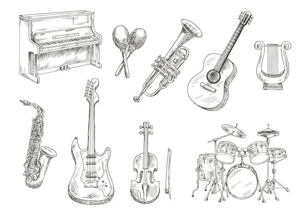 Эскизы гравировки барабанной установки и фортепиано, саксофона, акустической и электрической гитары, скрипки и трубы, древнегреческой лиры и деревянных маракас Premium векторы