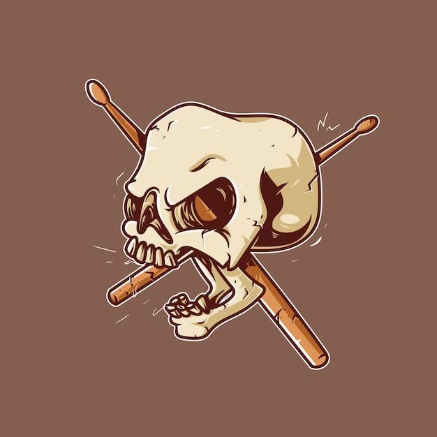 Drummer skull artwork Premium Vector