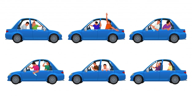 Drunk in car set Premium Vector