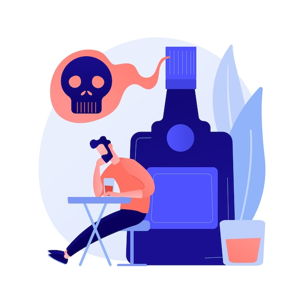 Drunk depressed man, alcoholic with hangover. heavy drinking, alcoholism problem, booze abuse. guy with alcohol addiction, psychological problem. vector isolated concept metaphor illustration Free Vector