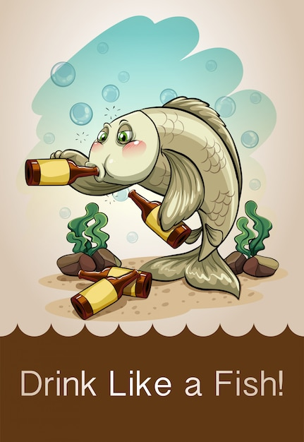 Drunk fish drinking alcohol Free Vector