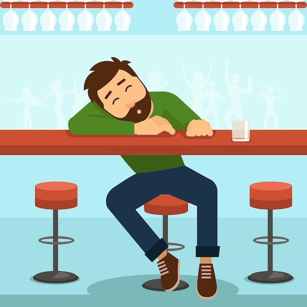 Uomo ubriaco. alcol e bicchiere, persona e tavola, alcolismo e whisky, Vettore gratuito