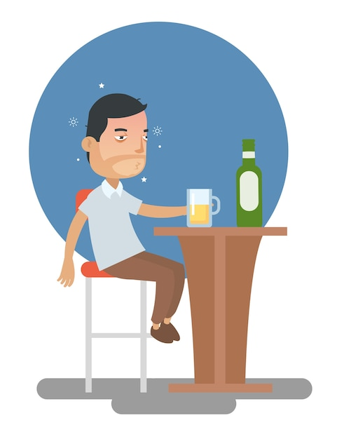 Drunk man too many drink alcohol at the bar Premium Vector