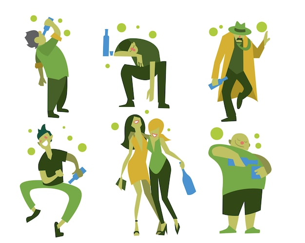 Drunk people, men and women Premium Vector