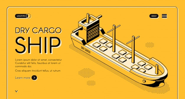 Dry cargo ship web banner with bulk carrier line art illustration. freight maritime Free Vector