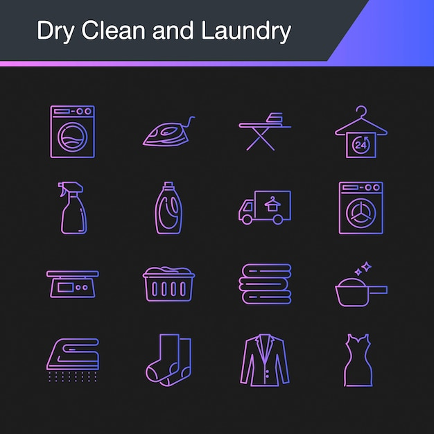 Dry clean and laundry icons. Premium Vector