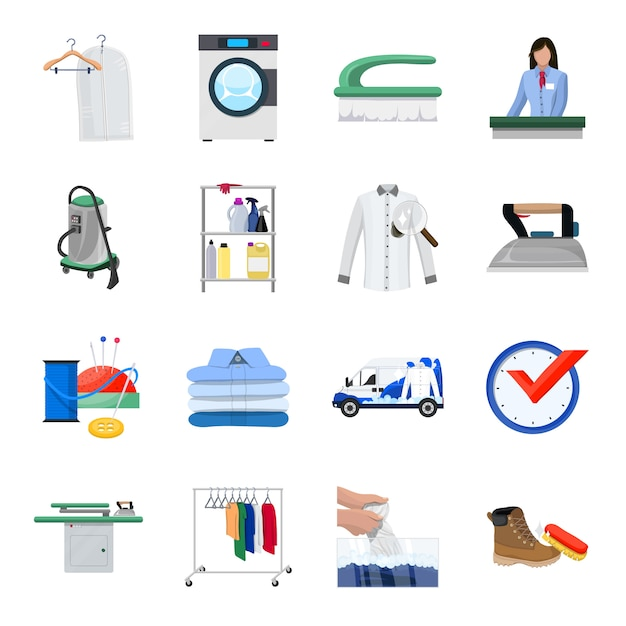 Dry cleaning cartoon icon set, cleaning service. Premium Vector