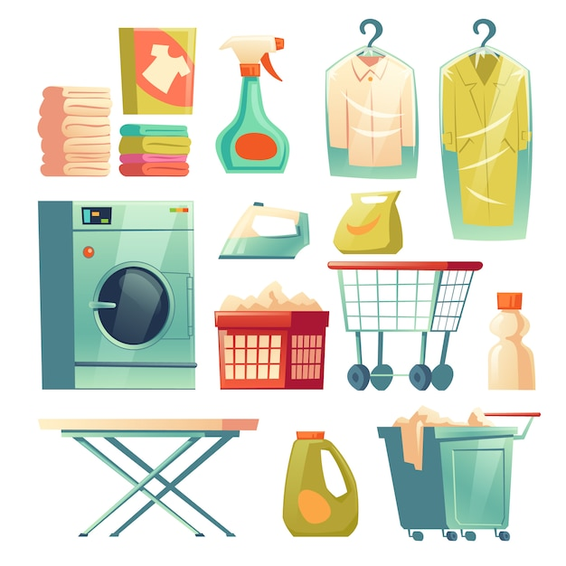 Dry cleaning service, laundry equipment Free Vector