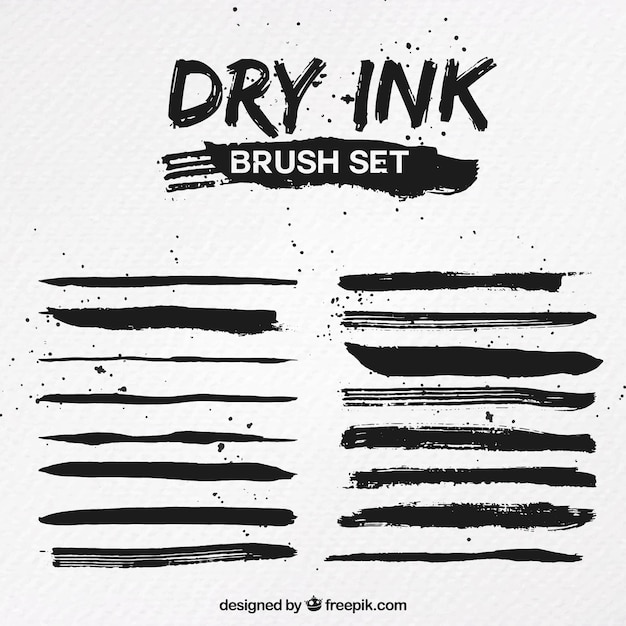 Dry Ink Brush Set Vector Free Download