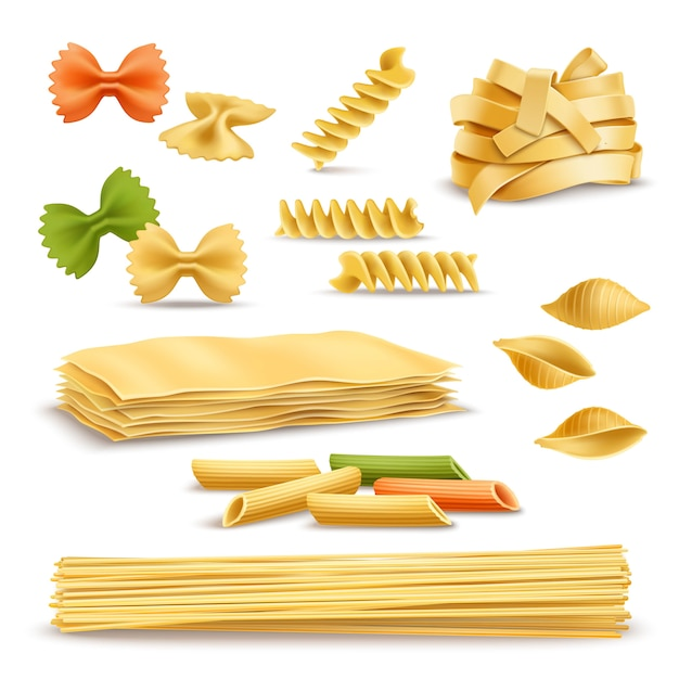 Dry pasta assortment realistic icons set Free Vector