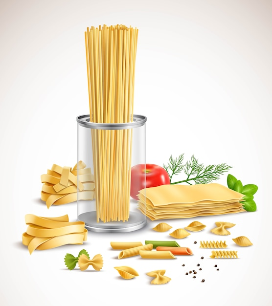 Dry pasta assortment with basil leaves tomato dill and black pepper ingredients realistic compositio Free Vector