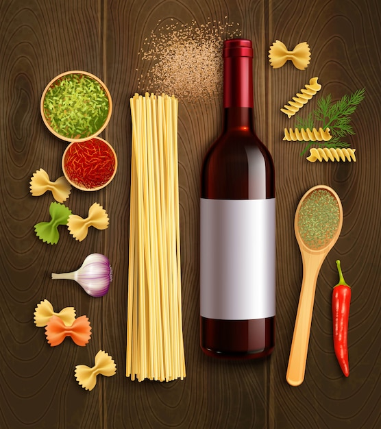 Dry pasta dish ingredients with bottle red wine wooden spoon en chili pepper sauce realistic poster Free Vector