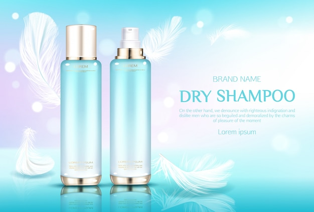 Dry shampoo cosmetic bottles, tubes with gold sprayer caps on light blue with feathers. Free Vector