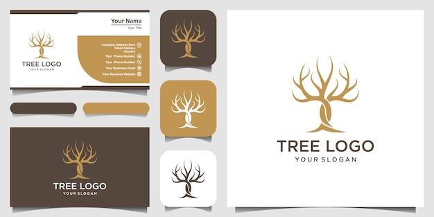 Сухое дерево векторный логотип шаблон и дизайн визитной карточки. особенности дерева. этот логотип декоративный, современный, чистый и простой. Premium векторы