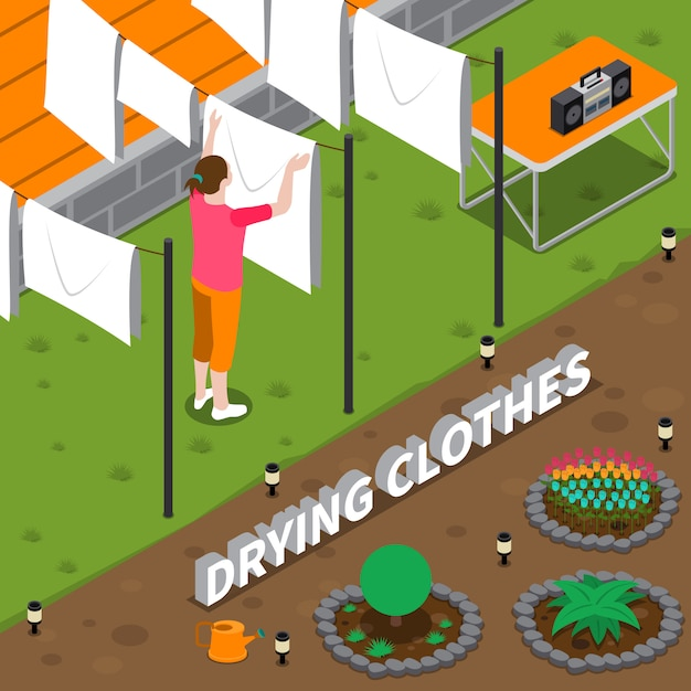 Drying clothes isometric illustration Free Vector