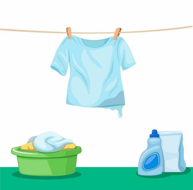 Сушка влажной футболки, висящей на веревке для белья с ведром для одежды и чистящим средством для стирки в полу, стирка одежды и символом белья в иллюстрации шаржа на белом фоне Premium векторы