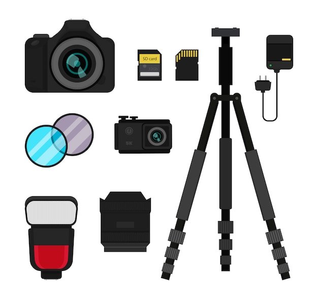 Dslr and action camera, flash, tripod, lens and filters, battery charger and memory cards. Premium Vector