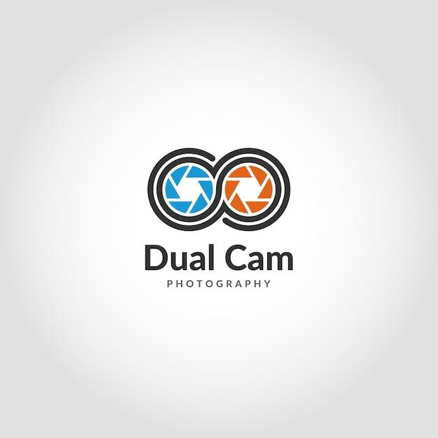 Dual camera logo is a modern mobile photography logo Premium Vector