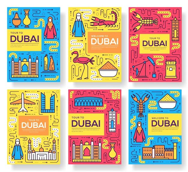 Набор тонких линий брошюры дубай. шаблон путешествия страны flyear, обложка книги, баннеры. Premium векторы