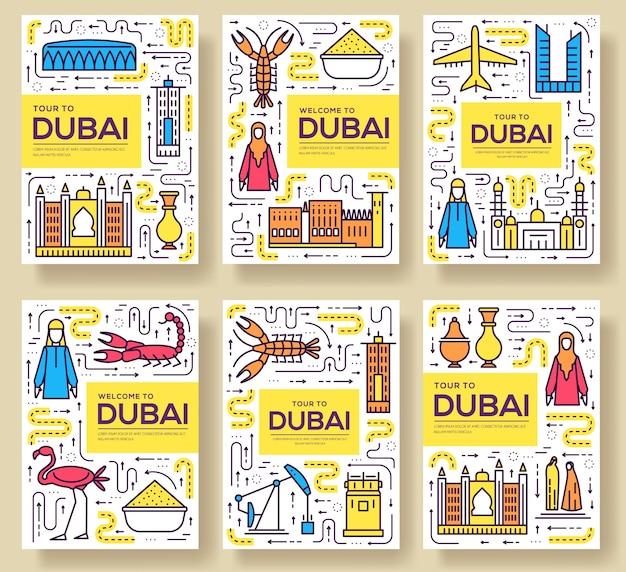 Набор тонких линий брошюры дубай. шаблон путешествия страны flyear, журналы, плакаты, книги. Premium векторы
