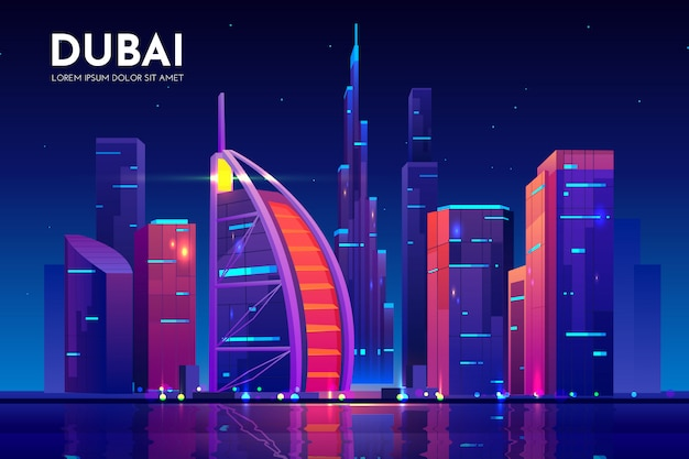 Dubai city with burj al arab hotel skyline, uae Free Vector