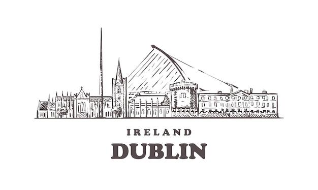 Городской пейзаж дубая, ирландия Premium векторы
