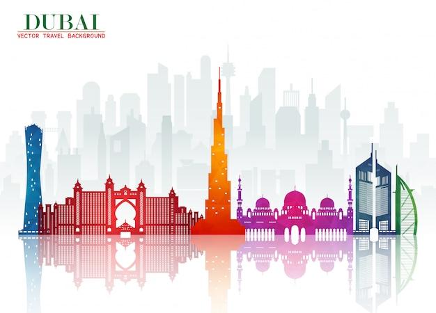 Дубай ориентир глобальные путешествия и путешествие справочный документ. , Premium векторы