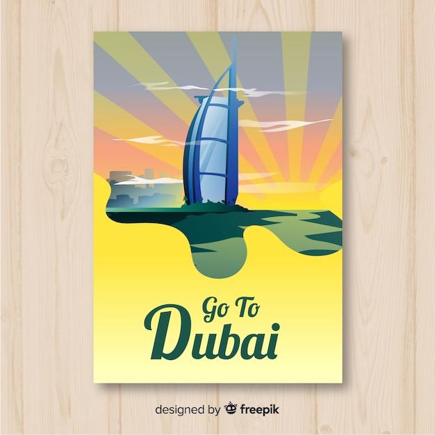 Dubai travel poster Free Vector