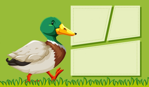 A duck on blank note frames Free Vector