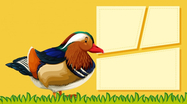 A duck on blank note Free Vector