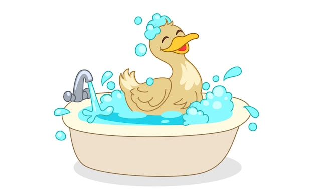 Duck having bath cartoon vector illustration Premium Vector
